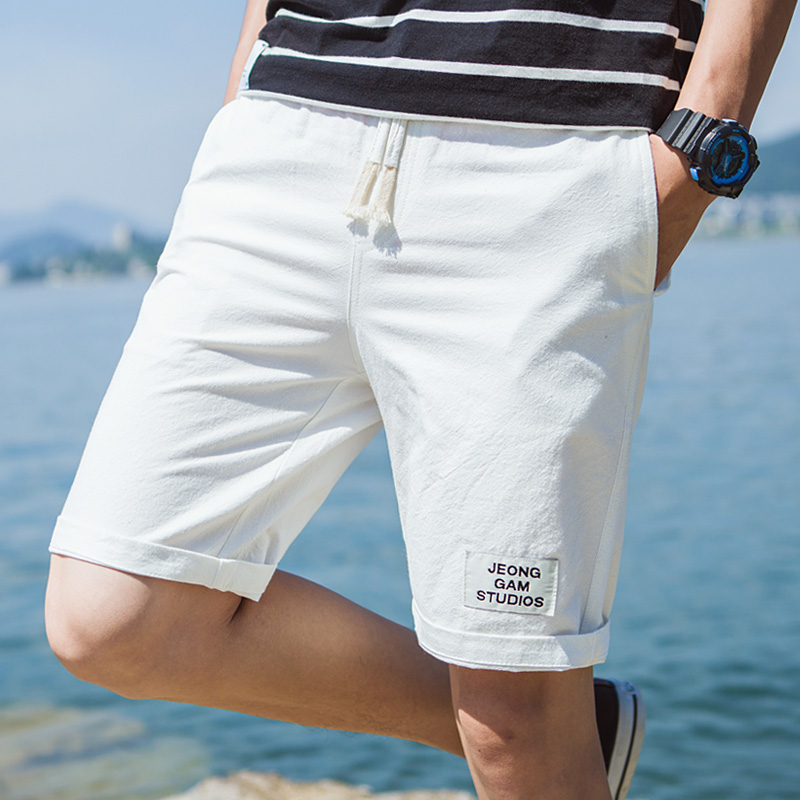 2019 Summer Home Casual Shorts Men ,fashion Plus Size Mens Loose Cotton Shorts , Comfortable Breathable White Shorts Male  S-5XL