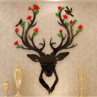 Deer head Wall sticker Bedside Creative Acrylic 3d Self adhesive DIY Wall Decoration Living room sofa background wall painting