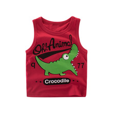 Baby cotton breathable thin 2017 new cartoon printing children summer boy  vest Tanks  Camisoles for 2-9T