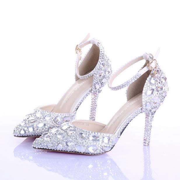 Summer hollow rhinestone bridal shoes white high heeled fine with crystal shoes word wristband wedding shoes tip