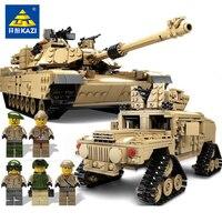 Кази армия Военное Дело танкостроения Блоки DIY M1A2 Abrams MBT бак пушки деформации автомобиль Hummer фигурки Совместимость legoe
