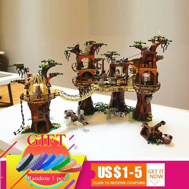 05047 1990pcs Star Ewok Village war set Model Building Blocks Compatible with 10236 Toys lepin 2016 new lepin 05047 1990pcs star wars ewok village model building kits figure blocks bricks compatible children toy 10236