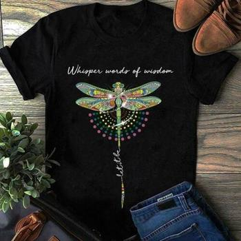 Hippie Dragonfly Whisper World Of Wisdom Men Black Cotton T Shirt S-6XL US Stock Cartoon t shirt men Unisex New Fashion tshirt