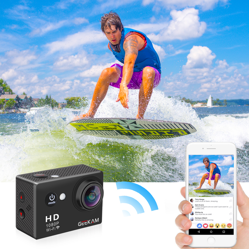 "Image 3 - GEEKAM W9 Action Camera Ultra HD 1080P 12MP WiFi 2.0"" Underwater Waterproof Helmet Video Recording Cameras Sport Cam-in Sports & Action Video Camera from Consumer Electronics"