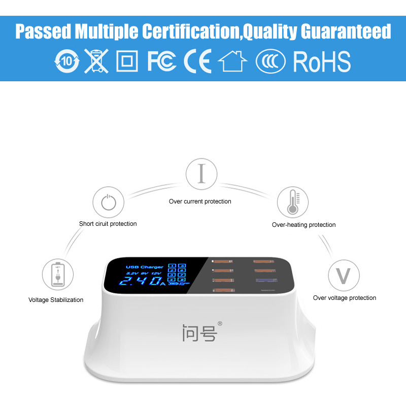 Image 5 - 8 Port USB Fast Charger TYPE C & QC 3.0 Quick Charge Socket Wall Phone Charger for iPhone 5 6 7 8 X Xs XR Samsung S7 S8 S9 Plus-in Mobile Phone Chargers from Cellphones & Telecommunications