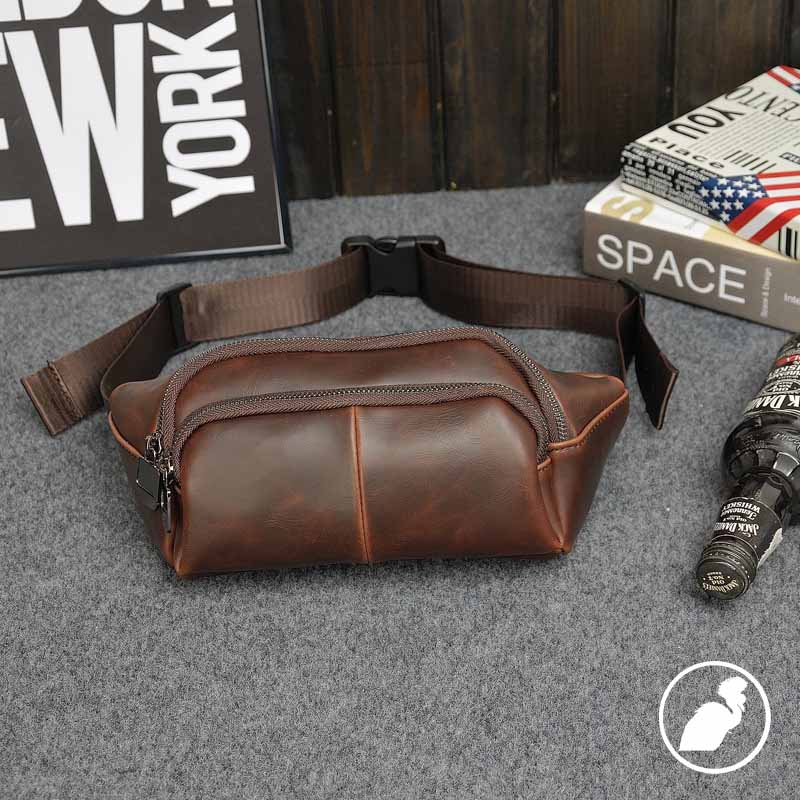 ETONWEAG Famous Brands Cow Leather Belt Bag Men Travel Bags Brown Zipper Vintage Fanny Pack Casual Celular Crossbody Waist Bag