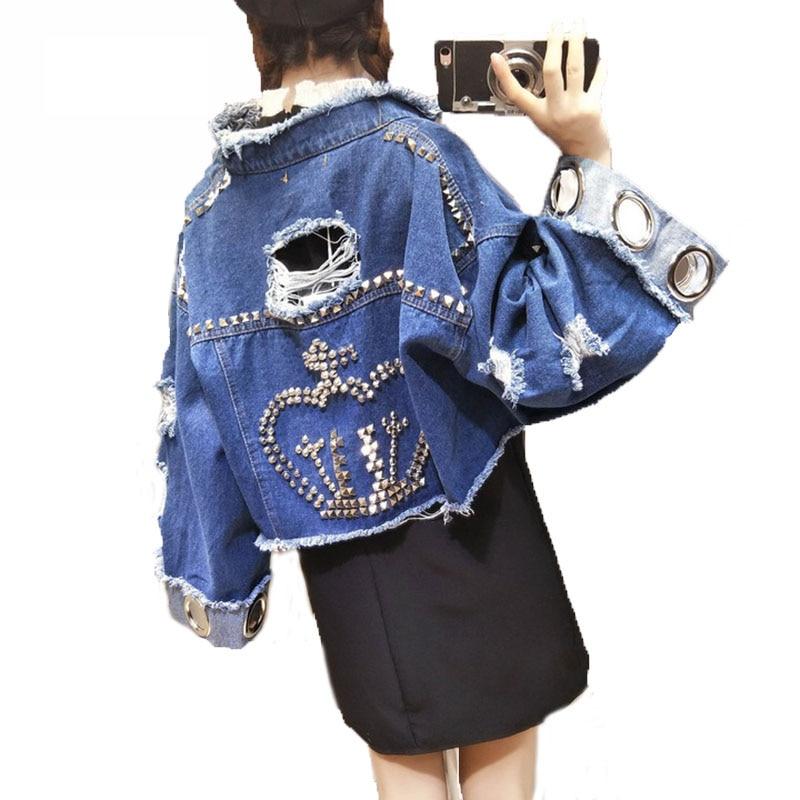 BONU Plus Size Hole Hollow Out Denim Jacket Rivet Decorated Short Jaqueta Feminina Coat High Quality