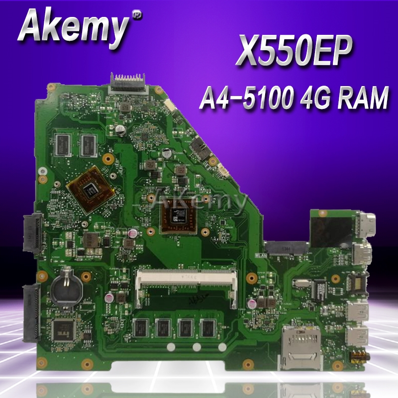 Akemy X550EP Laptop motherboard for ASUS X550EP X550E X552E Test original mainboard 4G RAM A4 5100