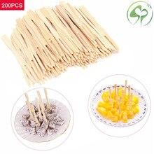 200 шт бамбуковые одноразовые фруктовые вилки, вечерние столовые приборы для дома, домашний декор, вилки для питания, Фруктовые палочки, палочки для еды