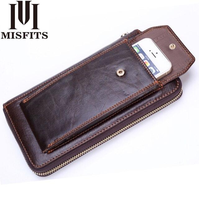 Carteras de embrague para hombre de cuero genuino Vintage con cremallera cartera larga organizador de teléfono móvil bolso de mano para hombre
