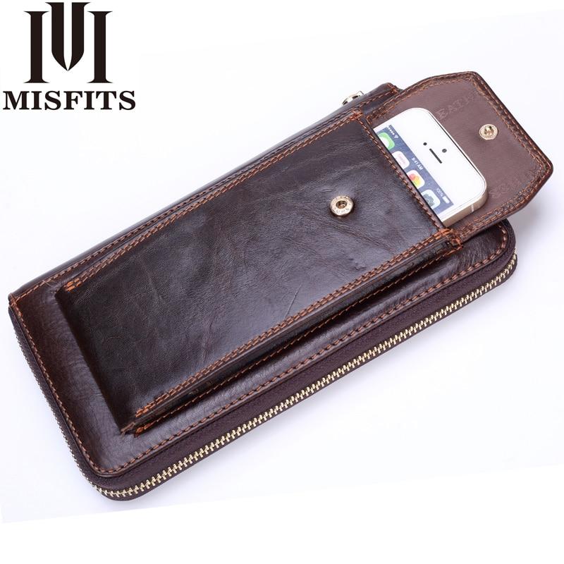 MISFITS Clutch Wallets Men Genuine Leather Vintage Zipper Long Wallet Organizer Cell Phone Clutch Bag Business Purse For Male