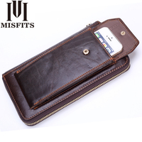 MISFITS Clutch Wallets Men Genuine Leather Vintage Zipper Long Wallet Organizer Cell Phone Clutch Bag Business Purse For Male