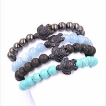 Bracelets tressés pour femmes, bijoux en pierre de lave et de galle, perles de tortue de mer, tendance