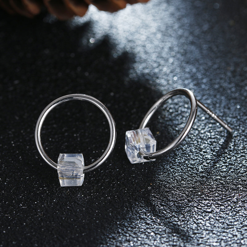 100 925 sterling silver fashion square crystal round circle earring ladies stud earrings jewelry wholesale birthday gift in Stud Earrings from Jewelry Accessories