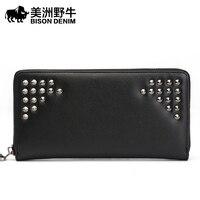 BISON DENIM Brand High Quality Men Wallet Genuine Leather Large Capacity Clutch Bag Cowhide Purse Men