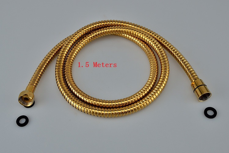 Hight Quality 1.5M Bathroom Replacement Anti-twist Shower Hose Gold Finish Brass Antique Shower Head Bathroom Plumbing Hoses(China)