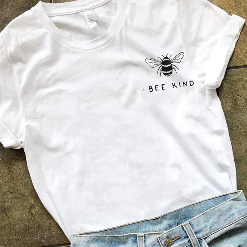 f1690ffb7 Bee Kind Pocket Print Tshirt Women Tumblr Save The Bees Graphic Tees Women  Plus Size T