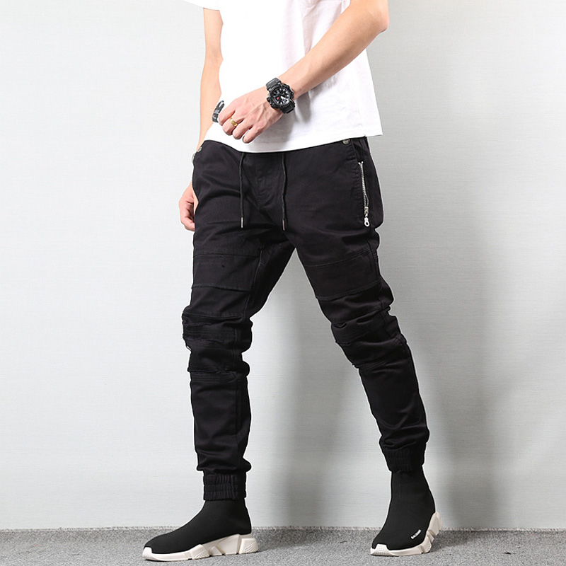 Japanese Style Fashion Mens   Jeans   Jogger Pants Destroyed Drawstring Ripped   Jeans   Cargo Pants Homme Streetwear Hip Hop   Jeans   Men