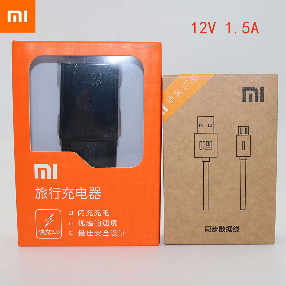 Original XIAOMI 12V/1.5A USB Quick Charger Adapter + Micro USB / TYPE C Data Cable For Mi a1 8 SE 6 5s 5 5c 4C 4S MIX NOTE2 Redm-in Mobile Phone Chargers from Cellphones & Telecommunications