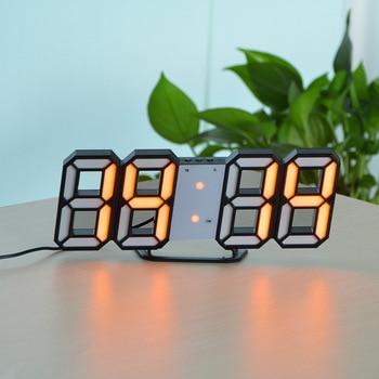 3D USB LED Digital Wall Clock Electronic Desk Table Desktop Alarm Clock 12/24 Hours Display Home Decoration Wake up night lights 8