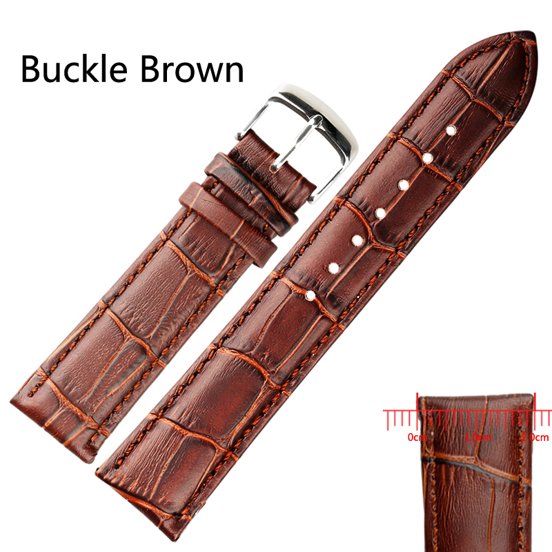 Black/Brown High Quality Soft Sweatband PU Leather watchStrap Steel Buckle Wrist Watches Band Width18mm 19mm 20mm 21mm 22mm