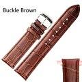 Preto/Brown Macio de Alta Qualidade Tafilete Couro PU watchStrap Fivela de Aço Relógios de Pulso Banda Width18mm 19mm 20mm 21mm 22mm