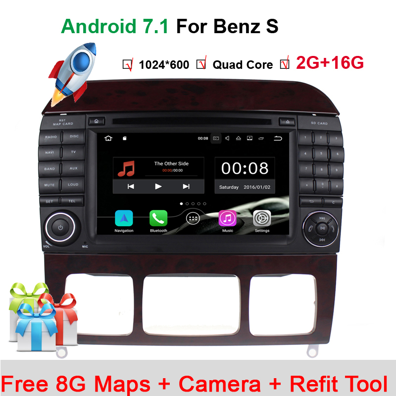 Quad core Android 7.1.1 Car DVD Player for Mercedes/Benz S Class S500 S600 S280 S320 S350 S400 S420 S430 W220 Radio WiFi BT GPS