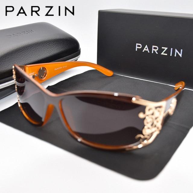 PARZIN gafas de sol polarizadas para mujer, anteojos de sol femeninos de lujo, estilo Vintage, color negro, con embalaje PZ18