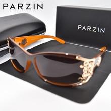 Parzin luxo óculos de sol polarizado feminino óculos de sol para a condução do vintage senhoras máscaras preto com embalagem pz18