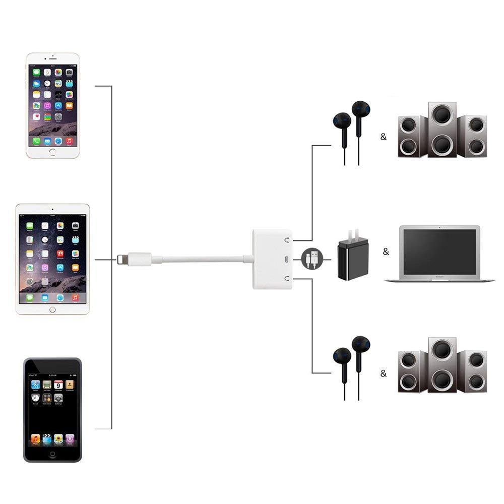 10X adaptateurs de répartiteur Audio pour la foudre à double prise Aux casque DC3.5mm avec Port de charge lumineux pour iPhone X/XS/8 P/7 - 5