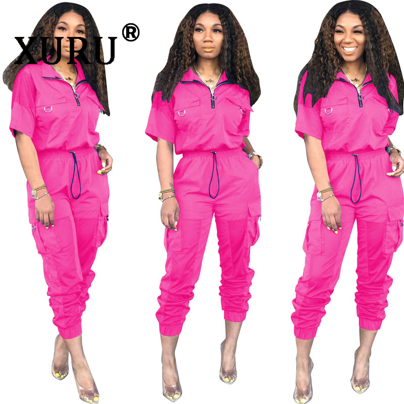 XURU new hot women's   jumpsuit   two-piece fashion casual lapel mesh stitching half sleeve   jumpsuit   suit
