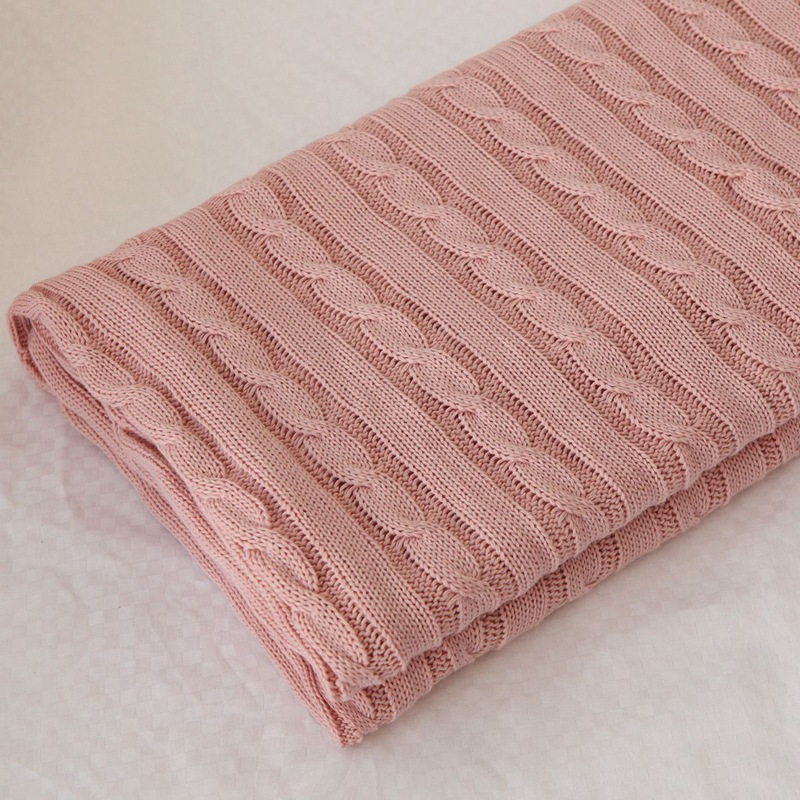 Pink Comfortable  Knit Blanket Spring/Autumn Summer 100% Cotton Adult Blanket Sofa Blanket Cobertor 110*180cm