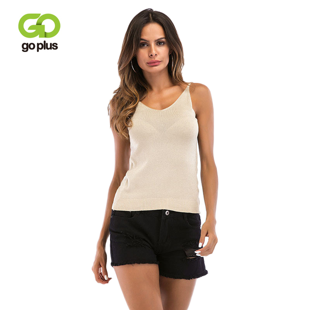 GOPLUS 2019 Spring Solid Strap Knitted Tank top Women Blouse Sexy V-Neck Sleeveless Vest Casual Club Slim Camisole Female Top