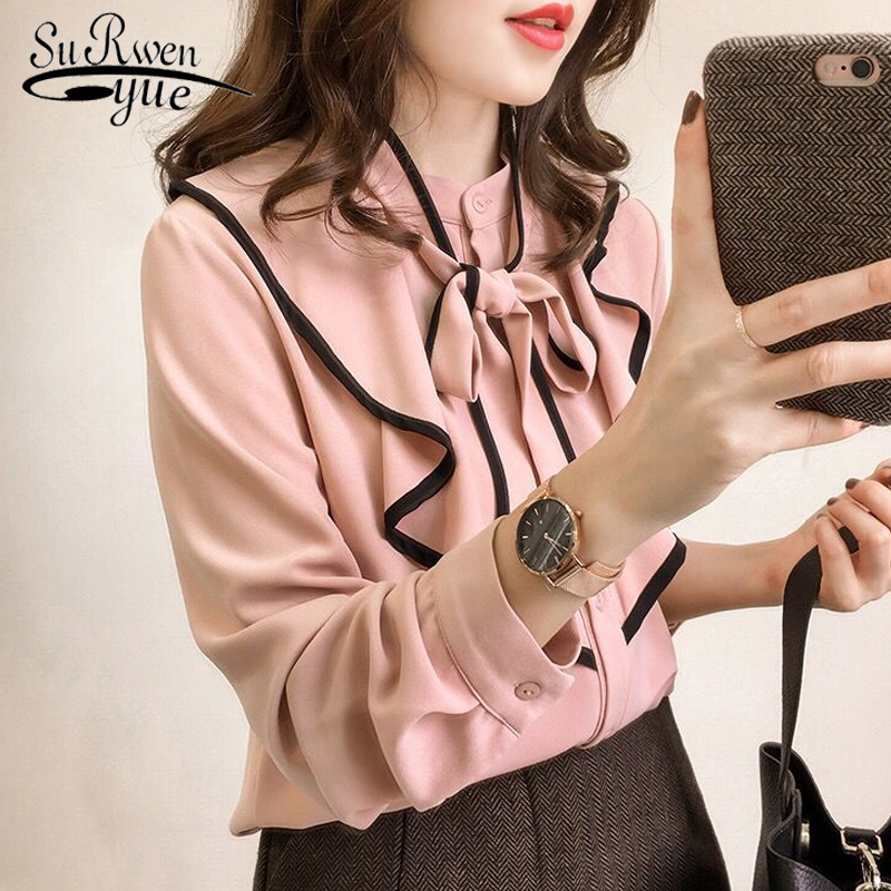 new fashion women   blouses   long sleeve pink ladies tops plus size 2018 chiffon women   blouse     shirt   blusas feminine   blouses   0443 40