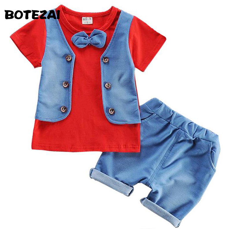 Baby Boys Clothing Set Summer Baby Boy Clothes Toddler Gentleman Children Suit Infant T-shirt+Shorts Pants 2Pcs Boy Casual Suit 2pcs baby boy clothing set autumn baby boy clothes cotton children clothing roupas bebe infant baby costume kids t shirt pants