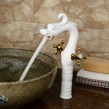 White Brass Countertop Tall Basin Faucet Deck Mount Bathroom Dragon Shape Mixer Tap Dual Cross Handle