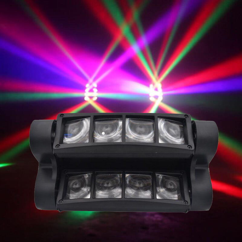 Mini LED 8x10W RGBW luz con cabezal móvil LED araña haz iluminación de escenario DMX 512 Luz de araña bueno para DJ fiesta de discoteca 24 LEDs discoteca UV Bar luces fiesta Dj lámpara UV Color Wash LED de pared luces para Navidad láser proyector etapa pared luces