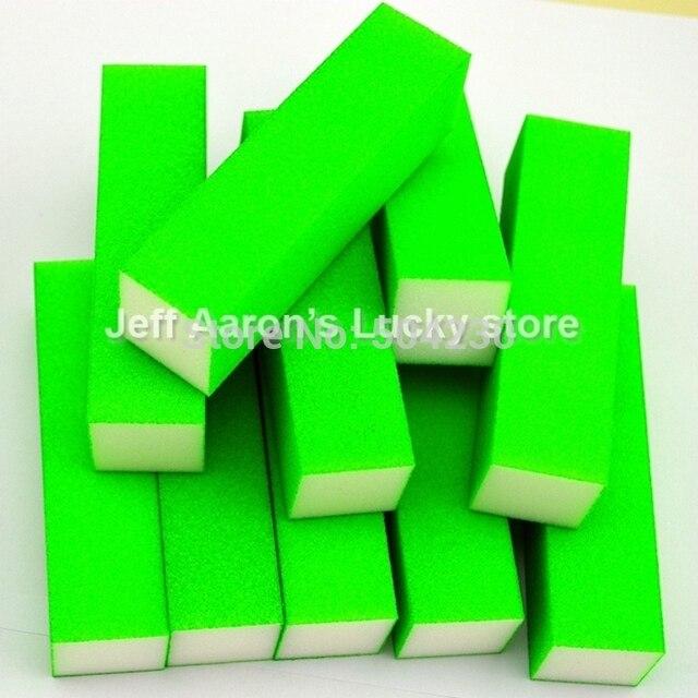 10 Pcs Green Fluorescent Color Nail Art Buffer Block Sanding File