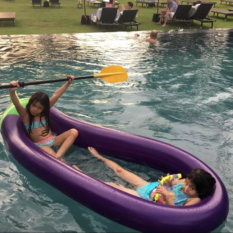 Giant 270cm Eggplant Pool Float Inflatable Toys Floating Bed with pump Water Party Supplies Beach Toys Fun Sport Outdoor Games
