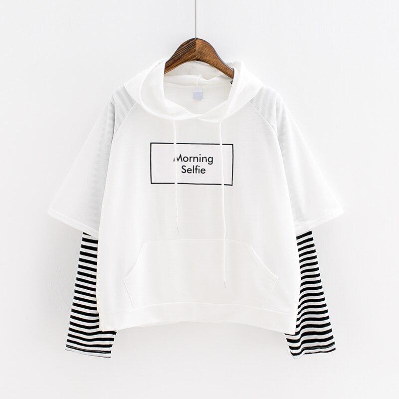 K-pop New Hoodie Bangtan Boys Hoodies Casual Sweatshirt Pullovers Kpop Stripes Sleeve Patchwo Cotton Harajuku Kawaii Top