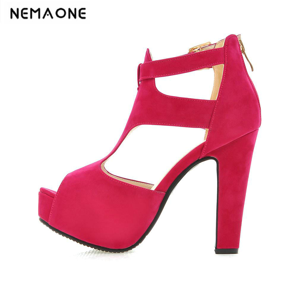 Black Hot New Summer Peep Toe Ankle Strap High Heel Sandals Platform Shoes Woman Charms Sandals summer peep toe women platform sandals high heel simple woman sandals ankle strap fashion wedges shoes for ladies hook