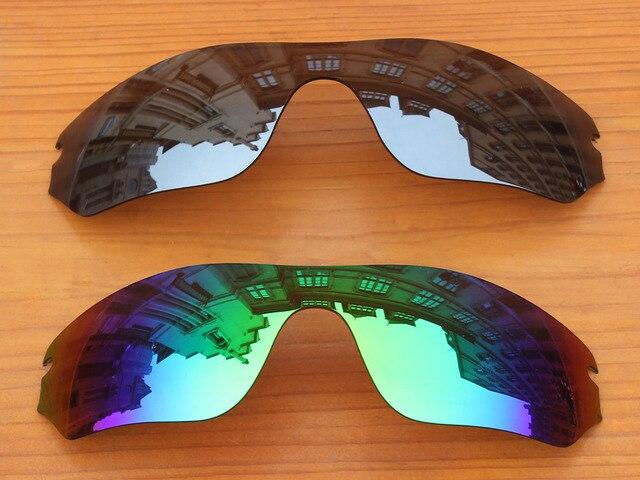 Хром Серебристый и Зеленый 2 Шт. Зеркало Поляризованных Сменные Линзы Для Радар Края Солнцезащитные Очки Кадров 100% UVA и UVB Защиты