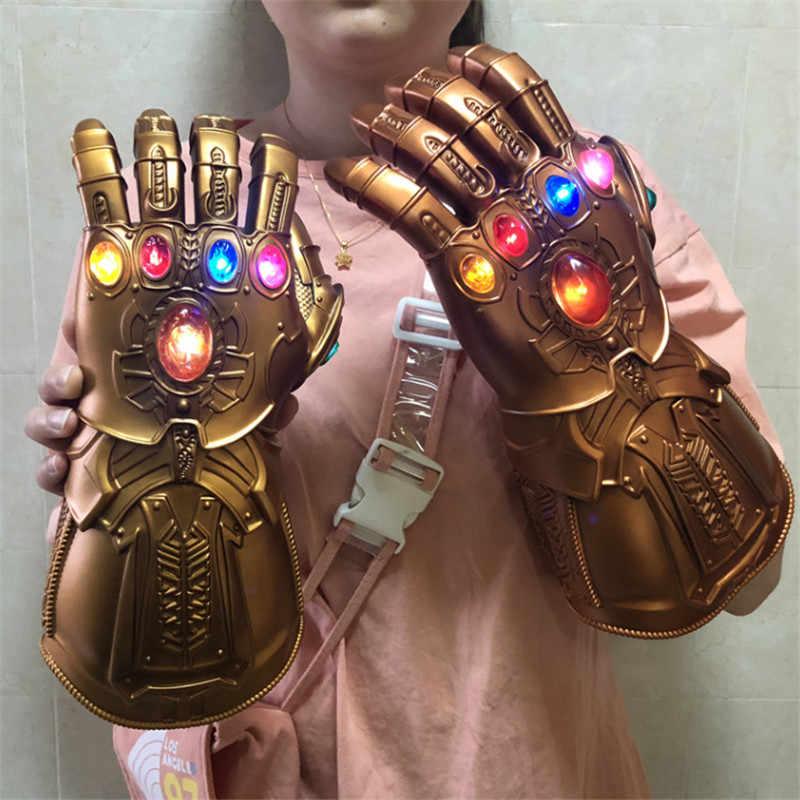 1:1 LED Thanos Vô Cực Nhẹ Linh Hoạt Ngón Tay Avengers Vô Cực Chiến Tranh Cosplay LED Găng Tay Trẻ Em Tặng Bộ Trang Phục Halloween Pro