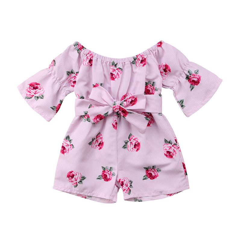 Floral Toddler Kids Baby Girl Cold Shoulder Bow Lace Up   Romper   Playsuit Outfits Princess Bebe Girl Summer Flower Clothes 6M-5Y