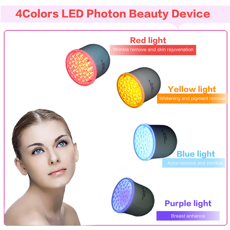 ФОТО 4 Colors LED Photon Rejuvenation Sonic Face Lift Care Skin Cleaner Wrinkle Remover Facial Beauty Massager