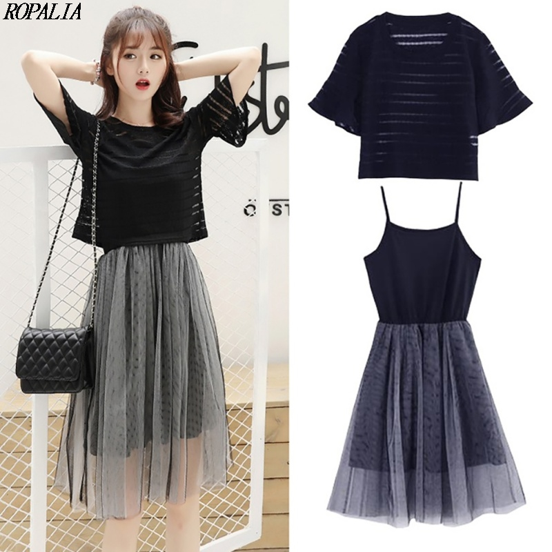 Women's Korean Style O-Neck Solid Top And Mesh Sling Spaghetti Strap Dress 2 Pieces Set