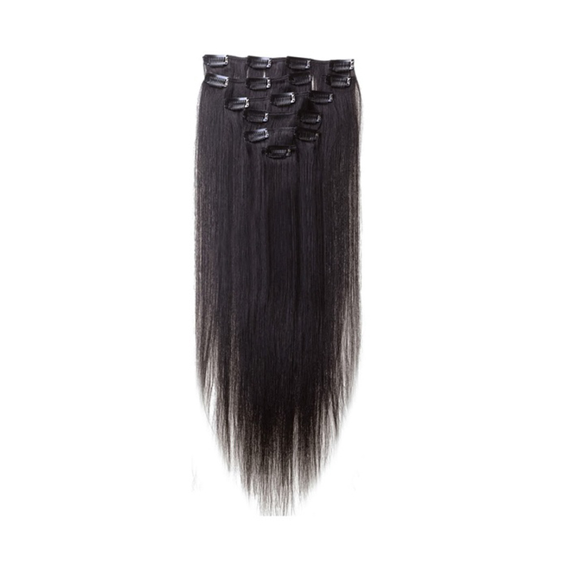 Best Sale Women Human Hair Clip In Hair Extensions 7pcs 70g 15inch Natural-black