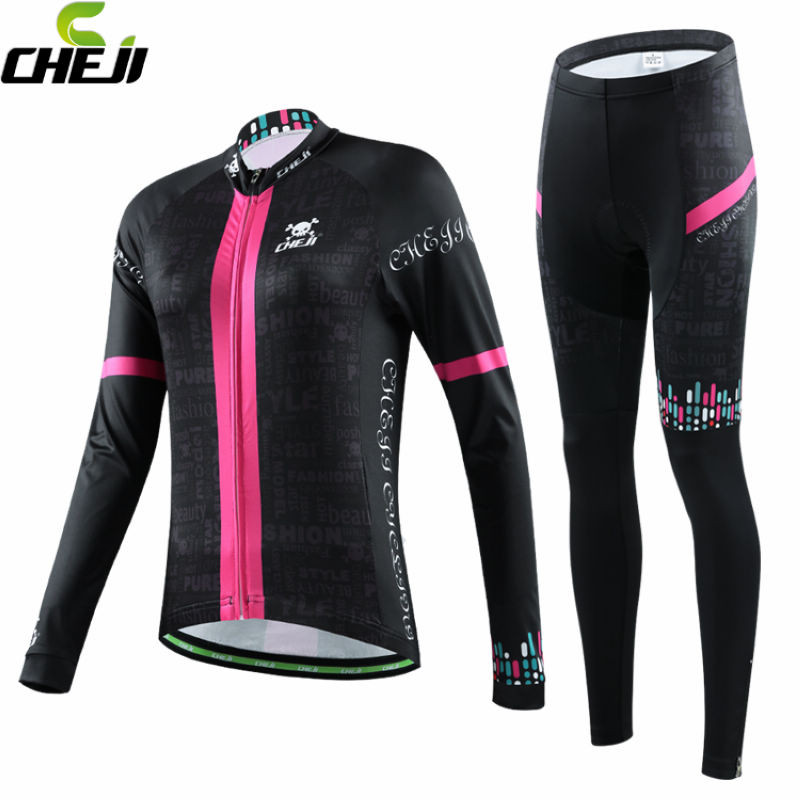 CHEJI Team Long Sleeve Winter Cycling Jersey Womens Fleece Thermal Ropa Ciclismo Riding Shirt Wear Bike Clothing Suit 2017 hot selling cheji womens pro cycling jersey set breathable fit pink printing high quality cycling clothing bike equipments
