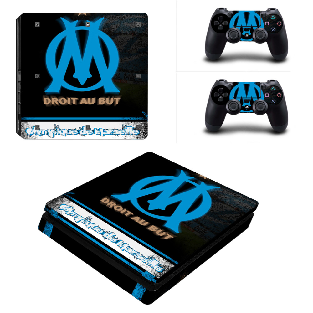 Olympique de Marseille French Football PS4 Slim Skin Sticker Decal For Sony PS4 Slim Playstation 4 Console and Controllers