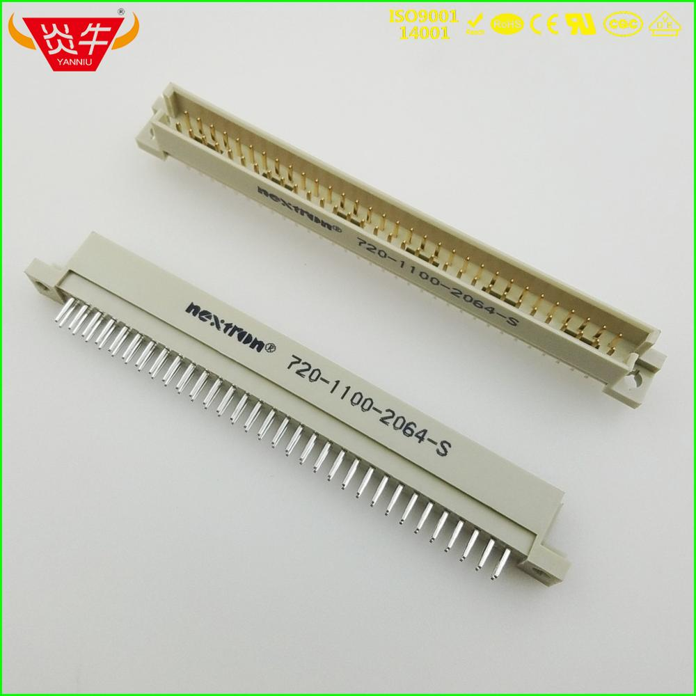 264 DIN41612 DIN CONNECTOR 710-1100-2064-S 2*32P 64PIN MALE STRAIGHT PINS EUROPEAN SOCKET 9001-33641COOA NEXTRON OUPIN